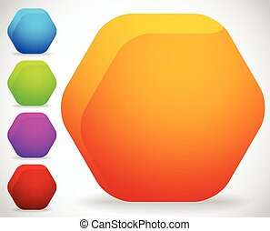 Empty octagonal shapes, button, badge backgrounds with...