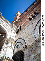 Siena, Italy. Torre del Mangia - Famous Torre del Mangia in...