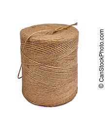 Twine - Reel packing twine made of natural fibers on a white...