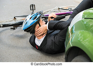 Male Cyclist After Car Accident - Male Cyclist With Neck...