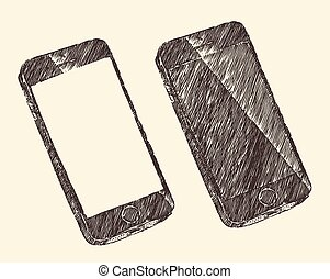 Hand Drawn Black Mobile Phone Vector Sketch - Hand drawn...