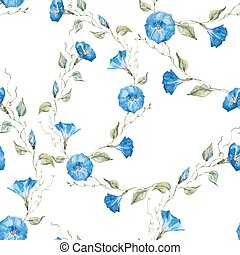 Gentle watercolor floral pattern - Beautiful vector pattern...