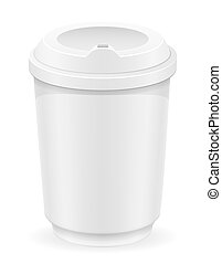 white cup for coffee or tea illustration isolated on...