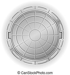 closed manhole illustration isolated on white background