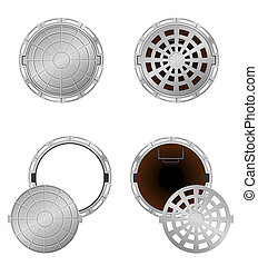 sewer pit with a hatch vector illustration isolated on white...