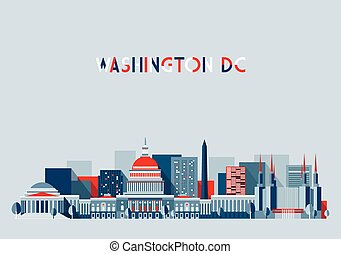 Washington DC Illustration Skyline Flat Design - Washington,...