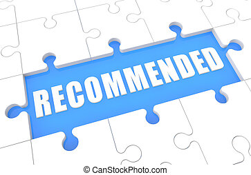 Recommended - puzzle 3d render illustration with word on...