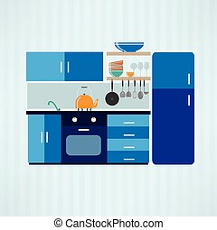 Kitchen with furniture. Flat style