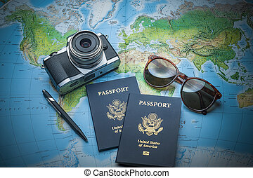 Passports to world travel - Passports for travel,camera and...