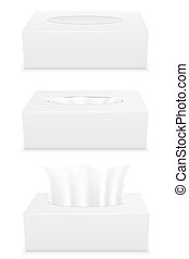 white tissue box set icons illustration isolated on...