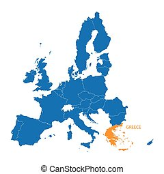 blue map of European Union with indication of Greece