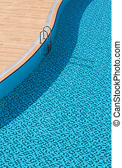 pool - curved swimming pool with aluminum stairs