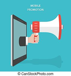 Mobile Promotion Flat Isometric Vector Concept Mans Hand...