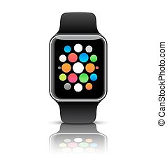 Smart watch isolated with icons on white background. Vector...