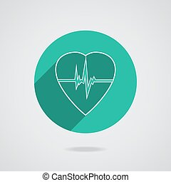 Defibrillator heart icon isolated on green background....