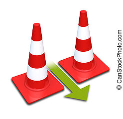 Traffic cones Isolated on a white background The arrow shows...
