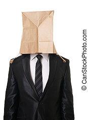 hombre de negocios, con, papel, bolsa, encima, el suyo,...