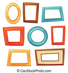 Set of color various frames on white background
