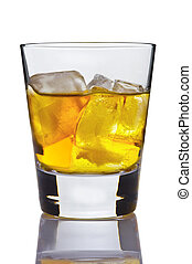 Glass of whisky with ice on a white background
