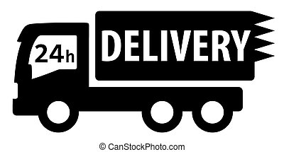 black isolated delivery truck silhouette for 24 hour...