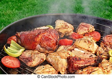 Meat And Vegetables Mix On The Hot BBQ Grill - Meat And...