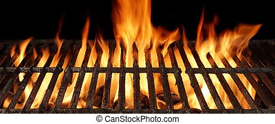Empty Barbecue Grill Close-up With Bright Flames - Empty...