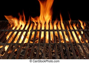 Empty Barbecue Grill Close-up With Bright Flames