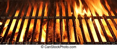 Flaming BBQ Charcoal Grill Background - Flaming Empty BBQ...