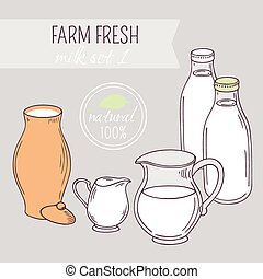 Set of hand drawn dairy farm objects Background with milk...