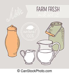 Collection of hand drawn dairy farm objects. Background with...