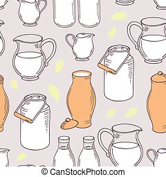 Seamless pattern with milk objects Background for daify farm...