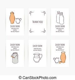 Business card set with milk icons. Hand drawn illustration -...
