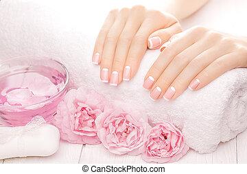 francês, manicure, com, rosÈ, flowers., spa,