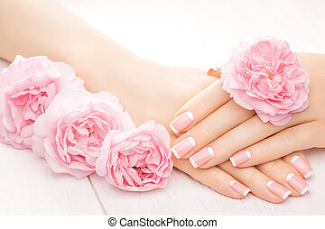 french manicure with rose flowers. spa - french manicure...