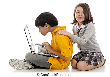 Children - children using a laptop over white background