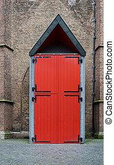 Red Door of Grote kerk (Big Church) in The Hague,...