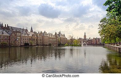 Famous parliament building complex Binnenhof in The Hague -...