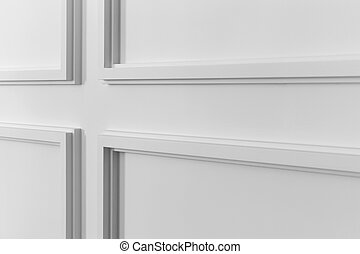 White wall molding with geometric shape and vanishing point...