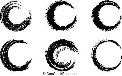 Black Graphic Brush Swirls - Circular Brush Stroke