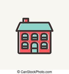 Retro flat house thin line icon - Retro flat house icon thin...