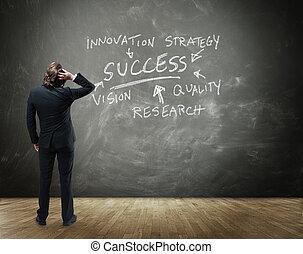 Businessman Brainstorming Path to Success