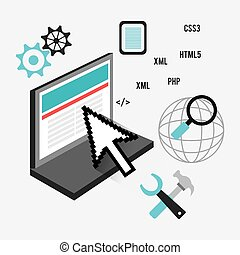 Software design - Software design over white background,...