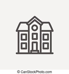 Two storey house building thin line icon - Two storey house...