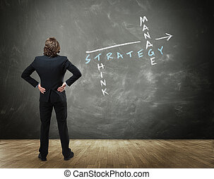 Business Person Standing in front of Chalkboard - Rear View...