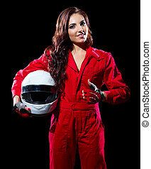 Young woman karting racer isolated