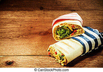 Vegetarian Grilled Couscous Burrito Wraps - Two Cut Halves...