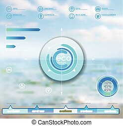 Eco vector backgroung - Sea view - vector web and mobile...