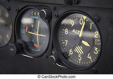 tablero de instrumentos, altímetro, detalle, de, un, avión,