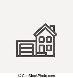 Home and garage thin line icon - Home and garage icon thin...