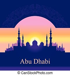 Abu Dhabi skyline silhouette background with a Grand Mosque,...